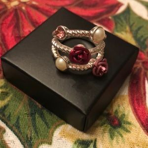 Roses & Pearls Princess Ring by Avon 6 NEW!